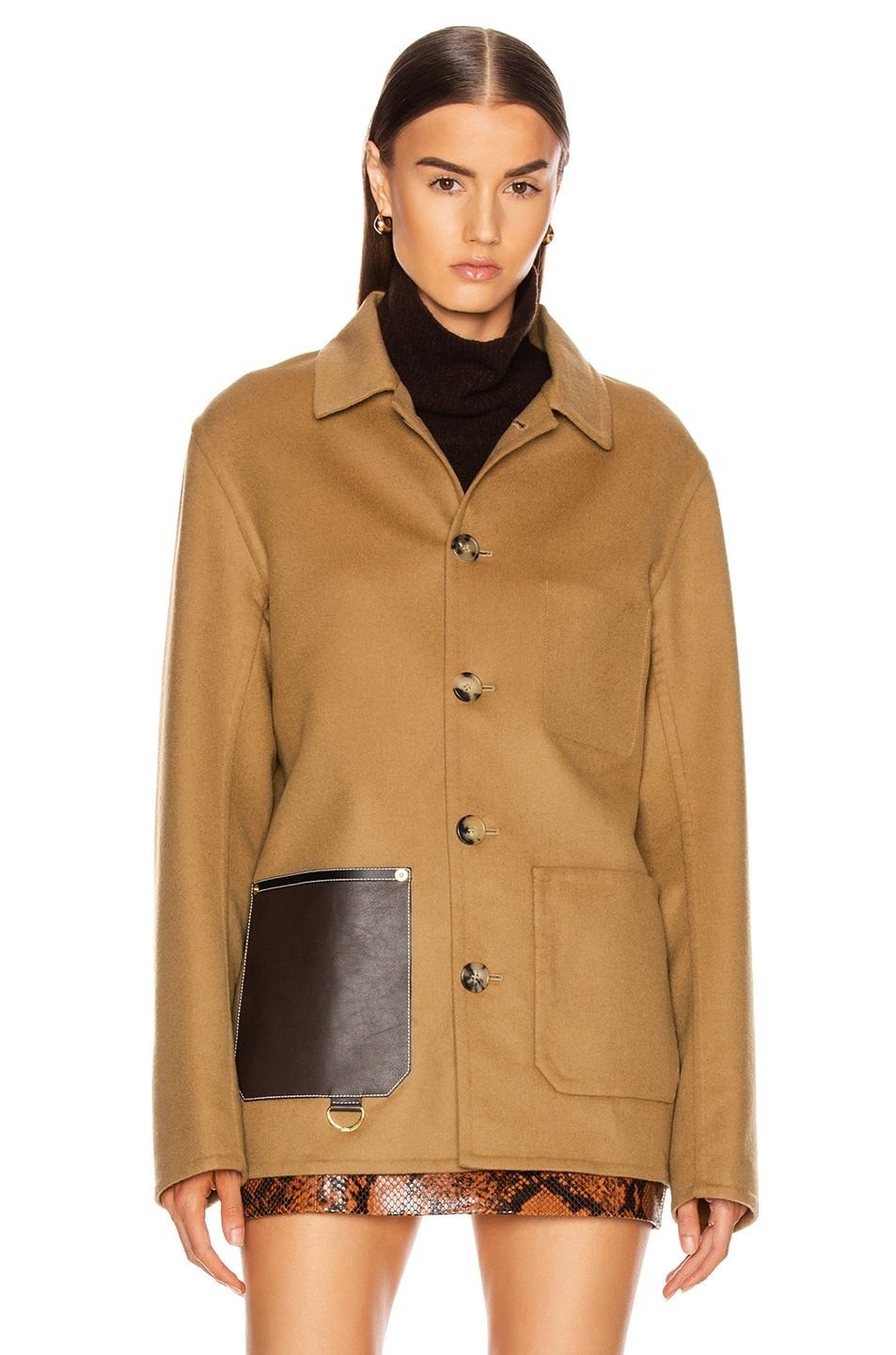 Image 2 of Loewe Button Jacket Patch Pockets in Camel