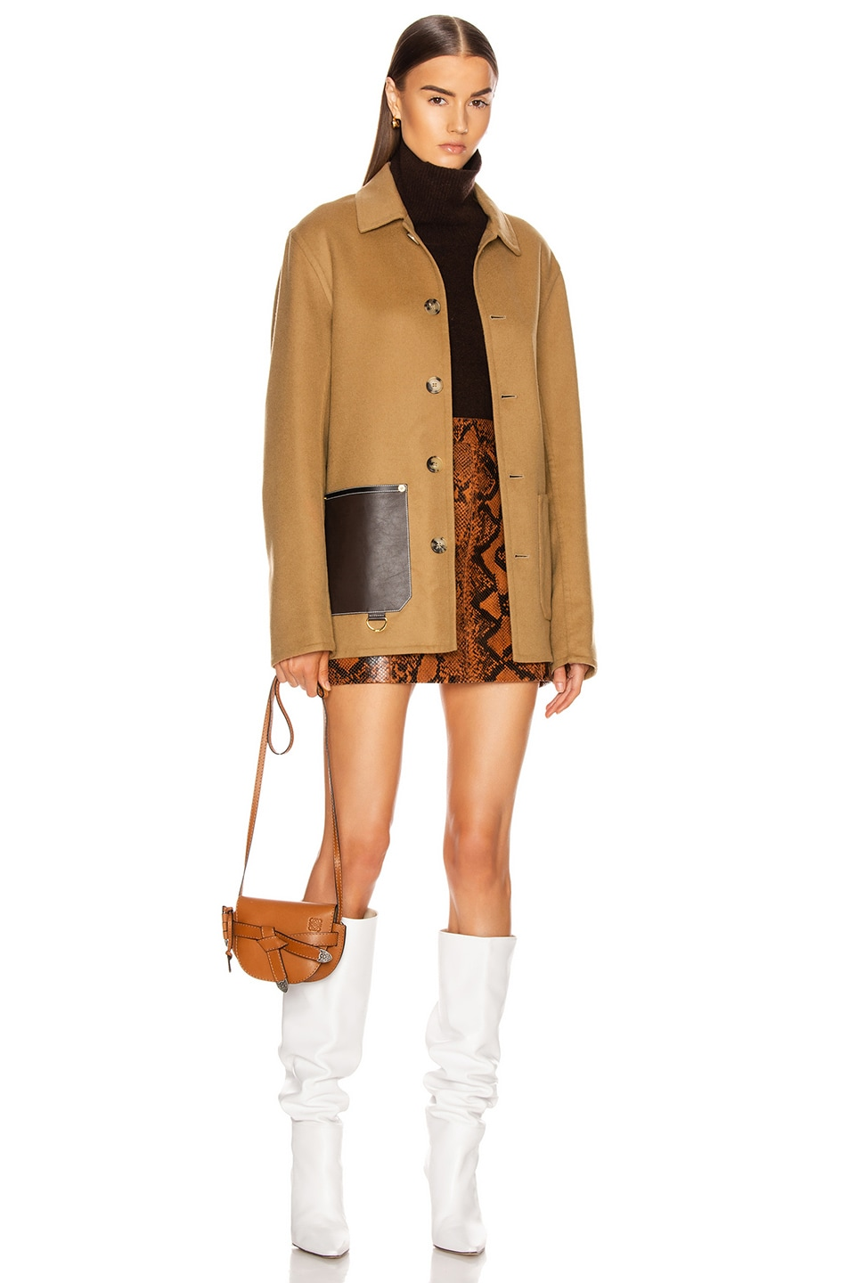 Image 6 of Loewe Button Jacket Patch Pockets in Camel