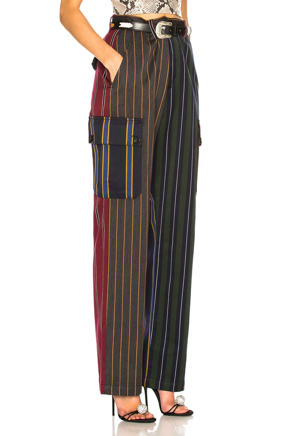 Image 2 of Loewe Patchwork Stripe Cargo Trouser in Multicolor