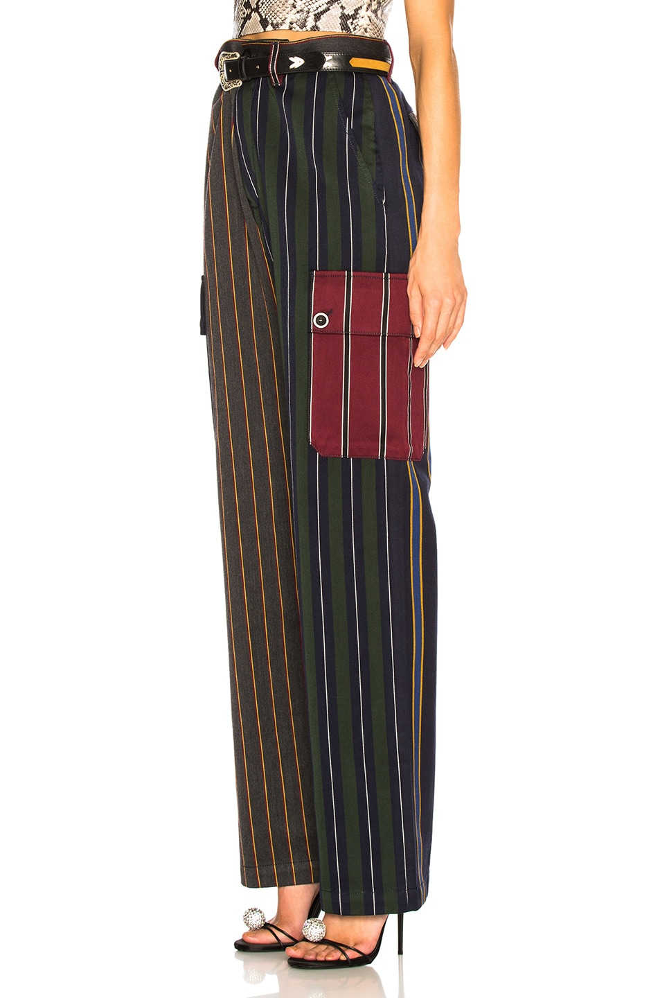 Image 3 of Loewe Patchwork Stripe Cargo Trouser in Multicolor