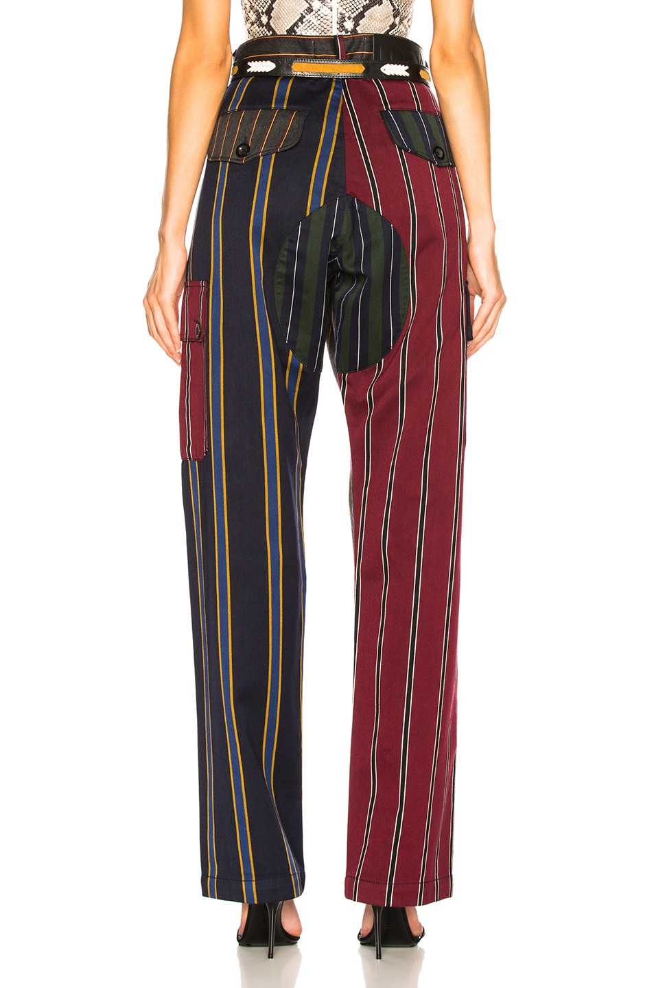 Image 4 of Loewe Patchwork Stripe Cargo Trouser in Multicolor
