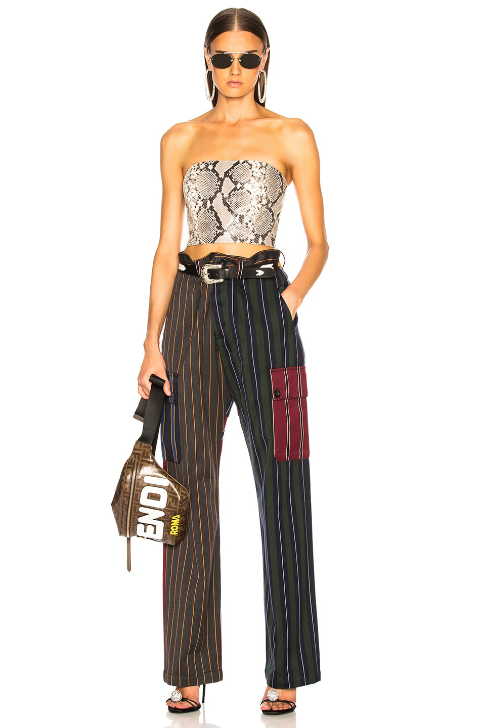 Image 5 of Loewe Patchwork Stripe Cargo Trouser in Multicolor