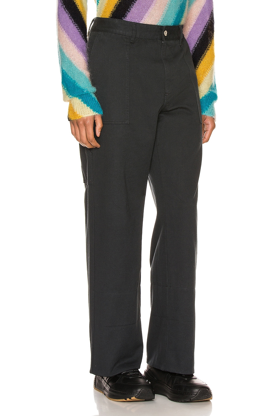 Image 2 of Loewe Turn Up Patch Pocket Trousers in Navy Blue