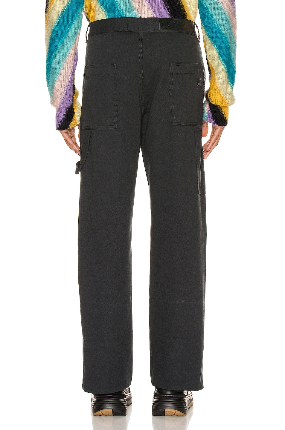 Image 3 of Loewe Turn Up Patch Pocket Trousers in Navy Blue