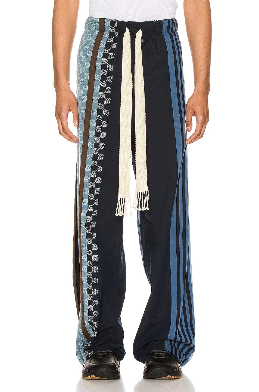 Image 1 of Loewe Stripe Anagram Trousers in Navy Blue & Multi