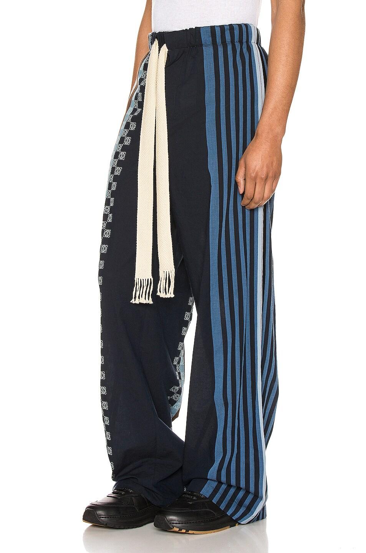 Image 3 of Loewe Stripe Anagram Trousers in Navy Blue & Multi