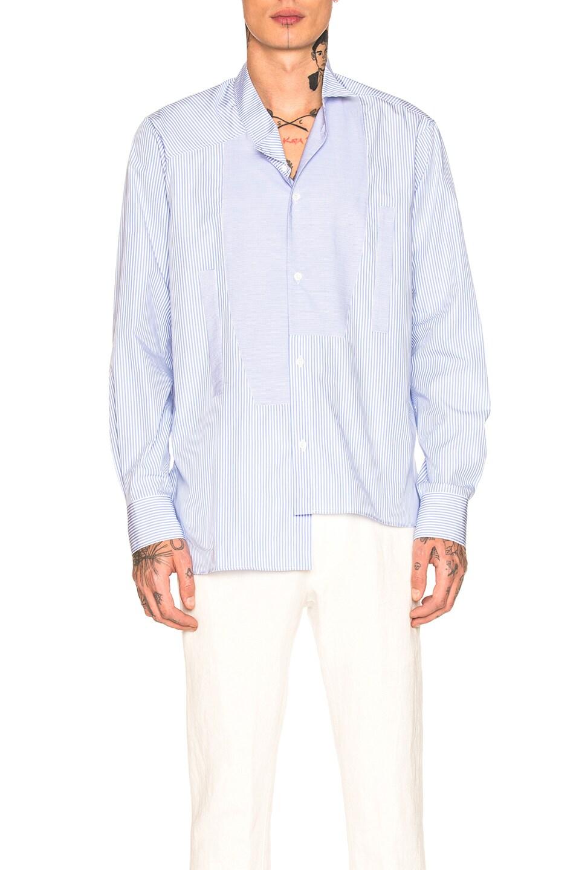 Loewe  LOEWE SHORT ASYMMETRIC SHIRT IN BLUE,STRIPES