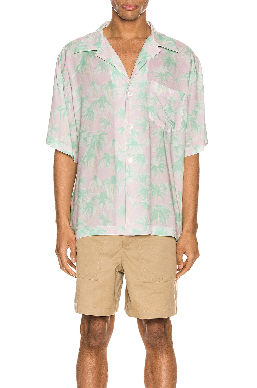 Image 1 of Loewe Daisy Print Bowling Shirt in Pink & Light Green