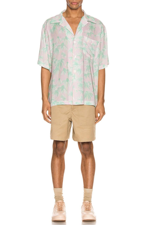 Image 4 of Loewe Daisy Print Bowling Shirt in Pink & Light Green