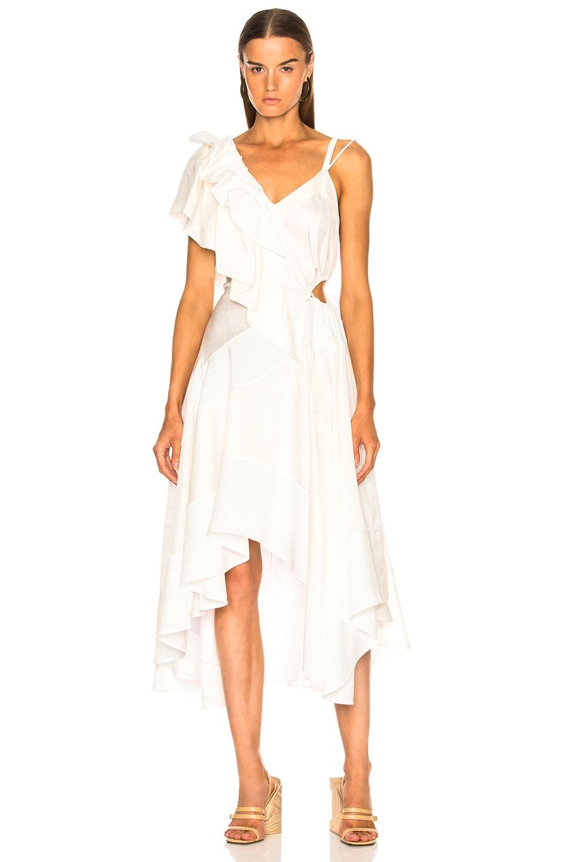 Loewe Ruffle Dress in White