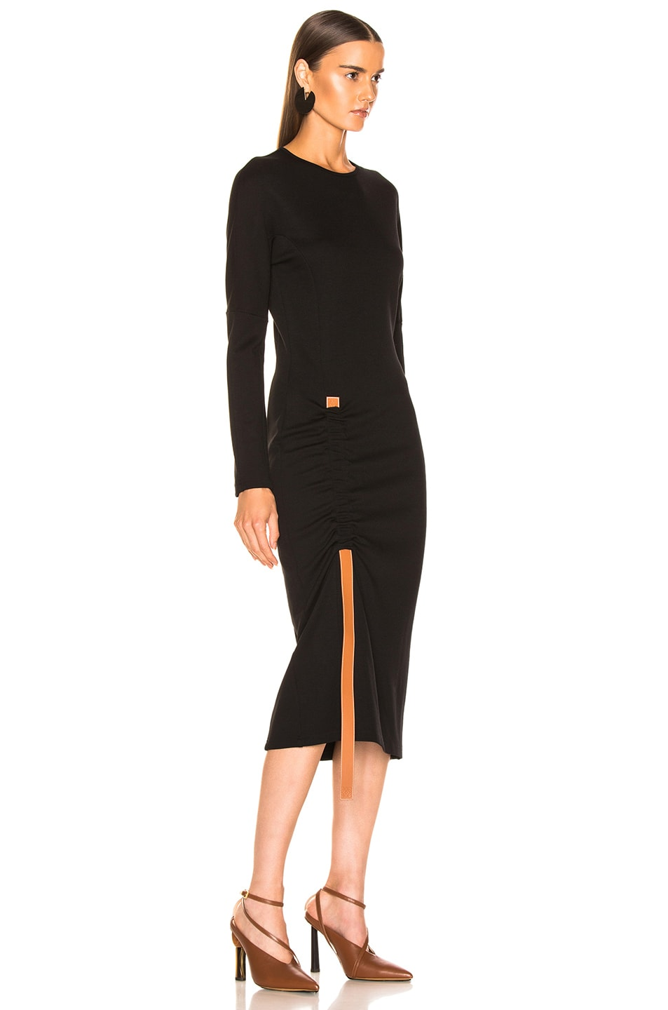 Image 2 of Loewe Bodycon Leather Strap Dress in Black