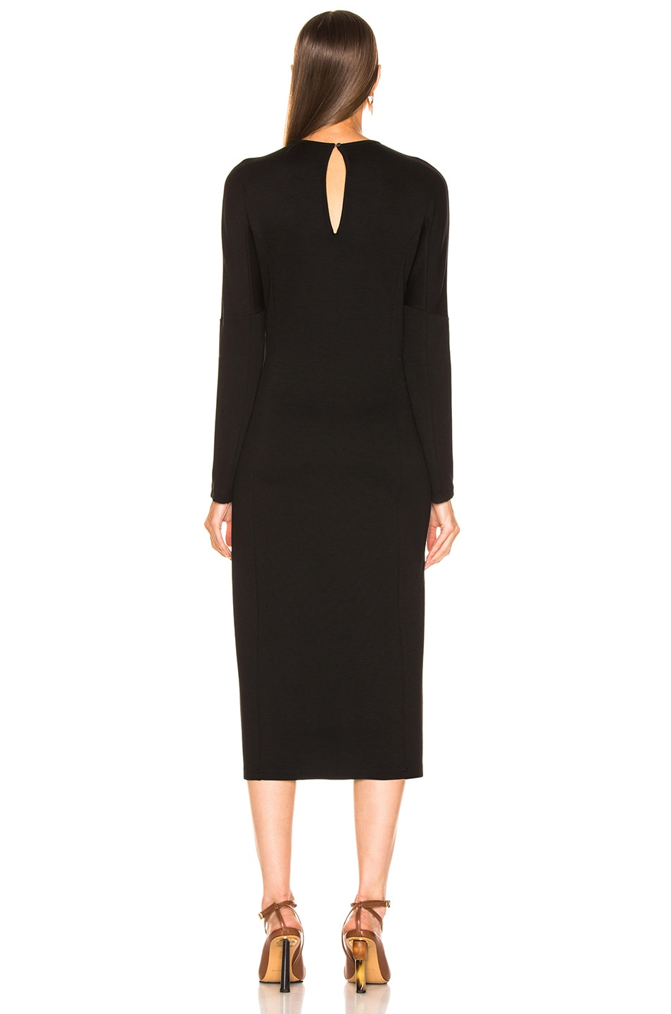 Image 3 of Loewe Bodycon Leather Strap Dress in Black