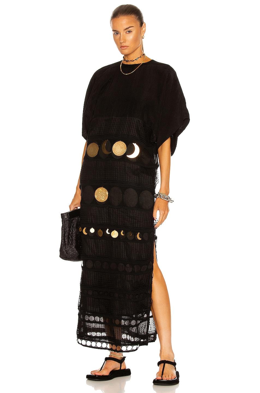 Image 1 of Loewe Paula's Ibiza Embroidered Midi Dress in Black