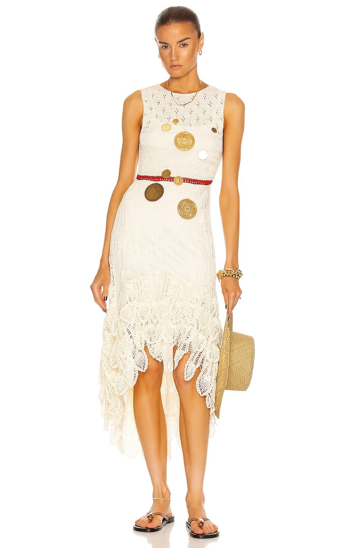 Image 1 of Loewe Paula's Ibiza Long Asymmetric Crochet Dress in Off White & Red