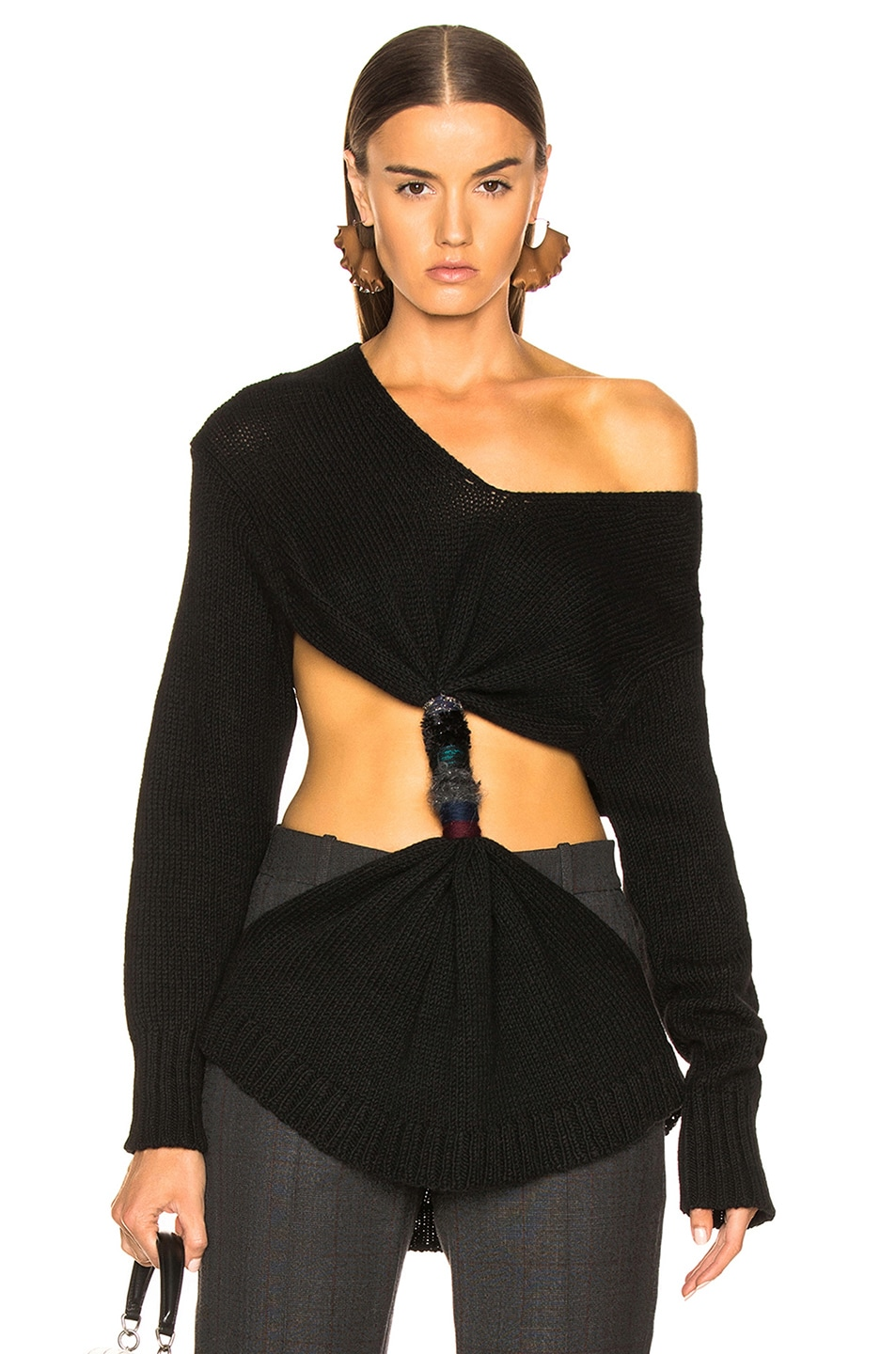Image 1 of Loewe Embroidered Knot Sweater in Black
