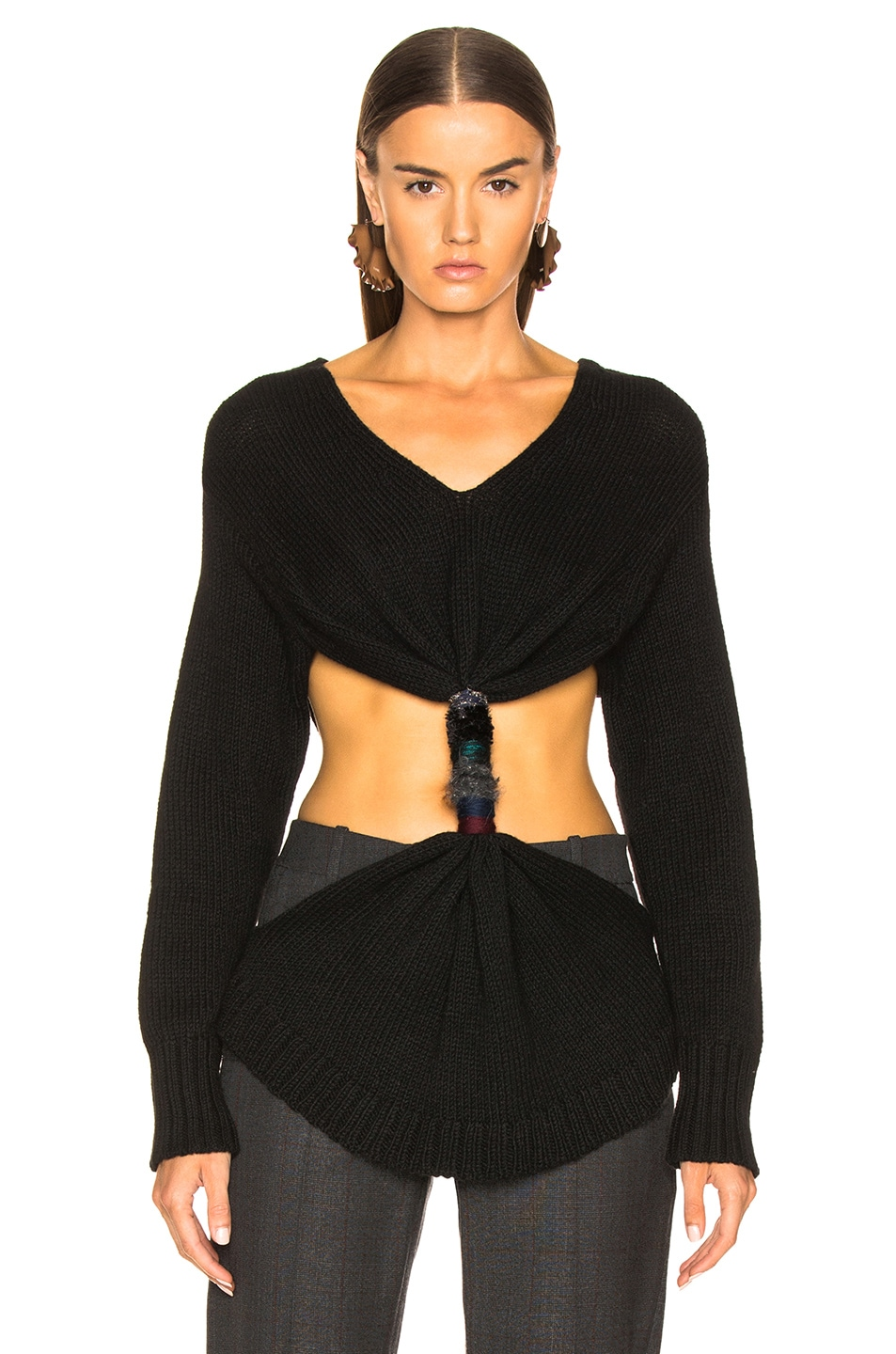 Image 2 of Loewe Embroidered Knot Sweater in Black
