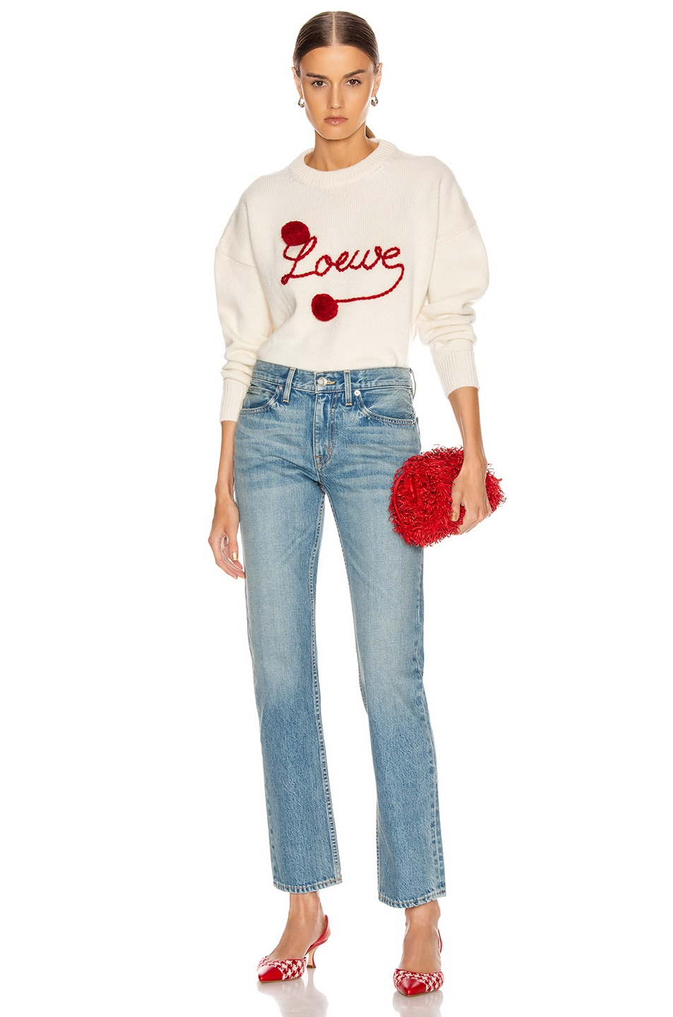 Image 4 of Loewe Pompom Loewe Sweater in White & Red