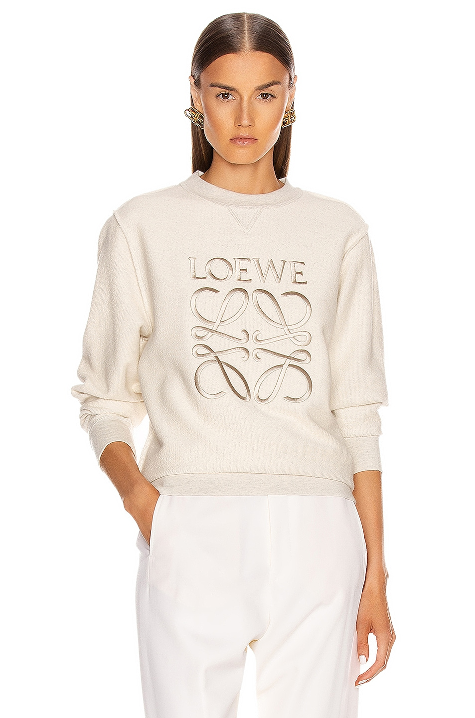 Image 1 of Loewe Anagram Sweatshirt in Ecru & Black