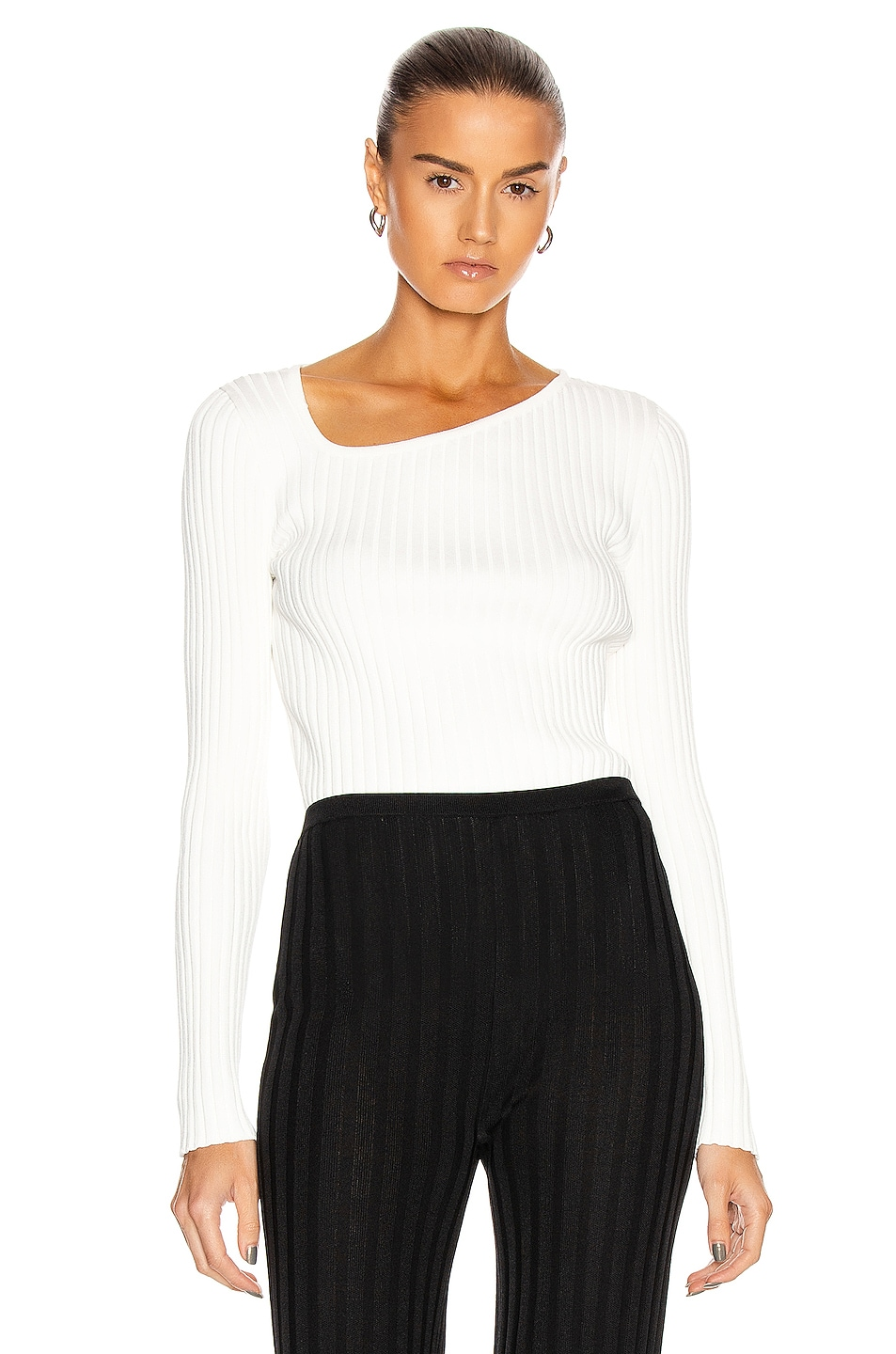 Image 1 of Loewe Ribbed Asymmetric Collar Sweater in White