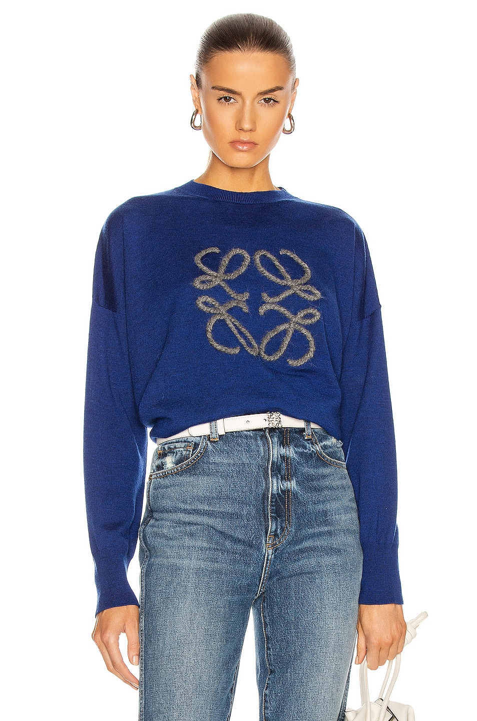Image 1 of Loewe Anagram Sweater in Navy & Indigo Dye