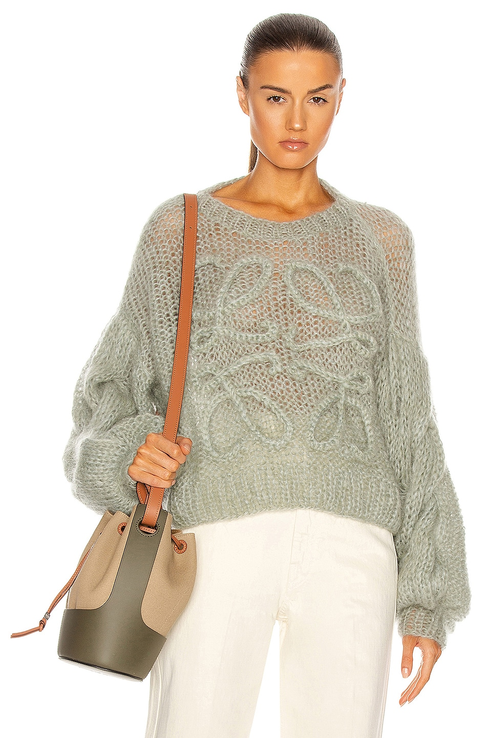 Image 1 of Loewe Anagram Mohair Sweater in Pale Green