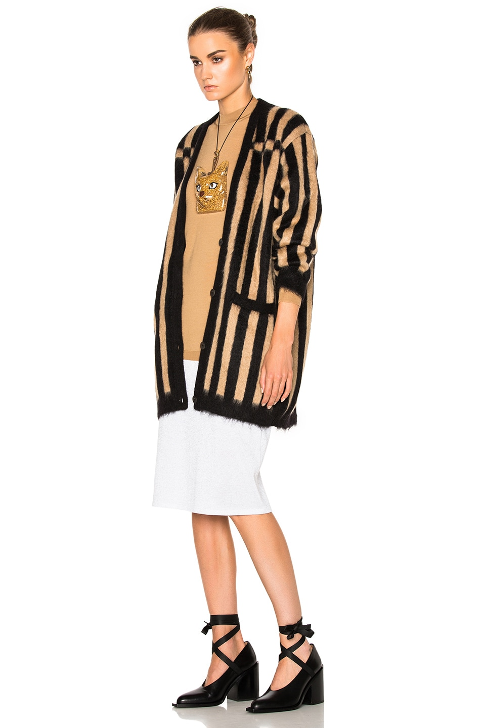 Image 3 of Loewe Bicolor Cardigan in Camel & Black