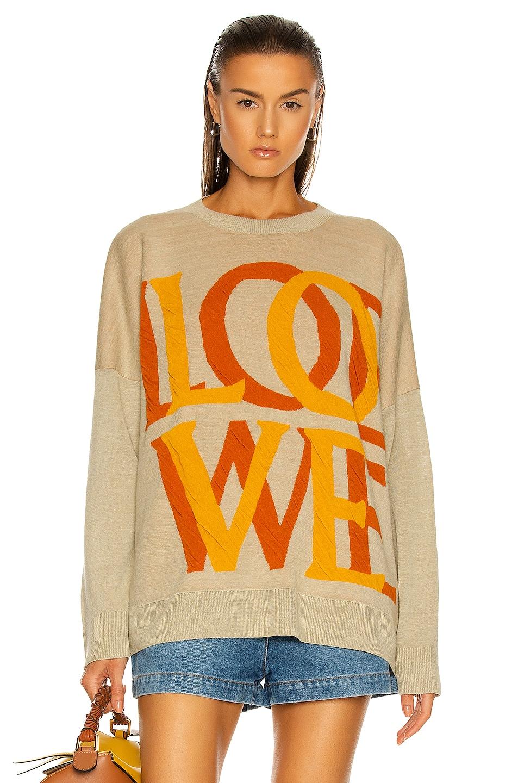 Image 1 of Loewe Love Jacquard Sweater in Sand