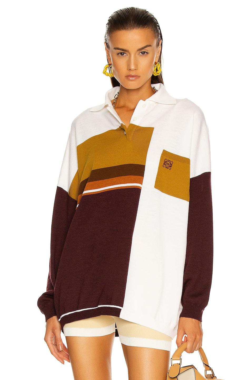 Image 1 of Loewe Oversize Polo Collar Sweater in Brown, Ecru & Yellow