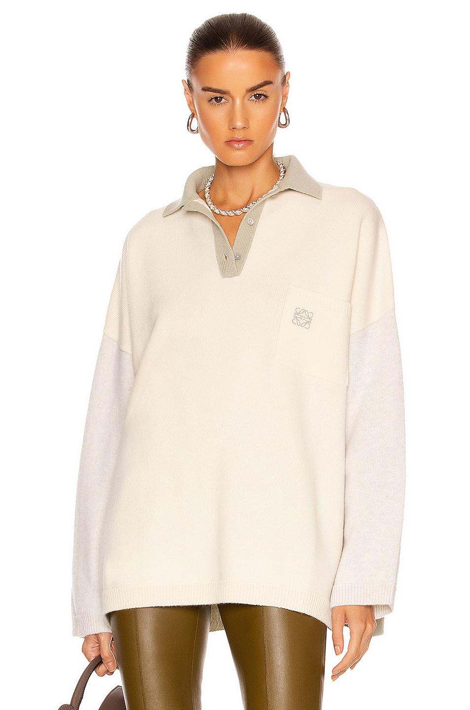 Image 1 of Loewe Oversize Polo Collar Sweater in Ecru & Grey