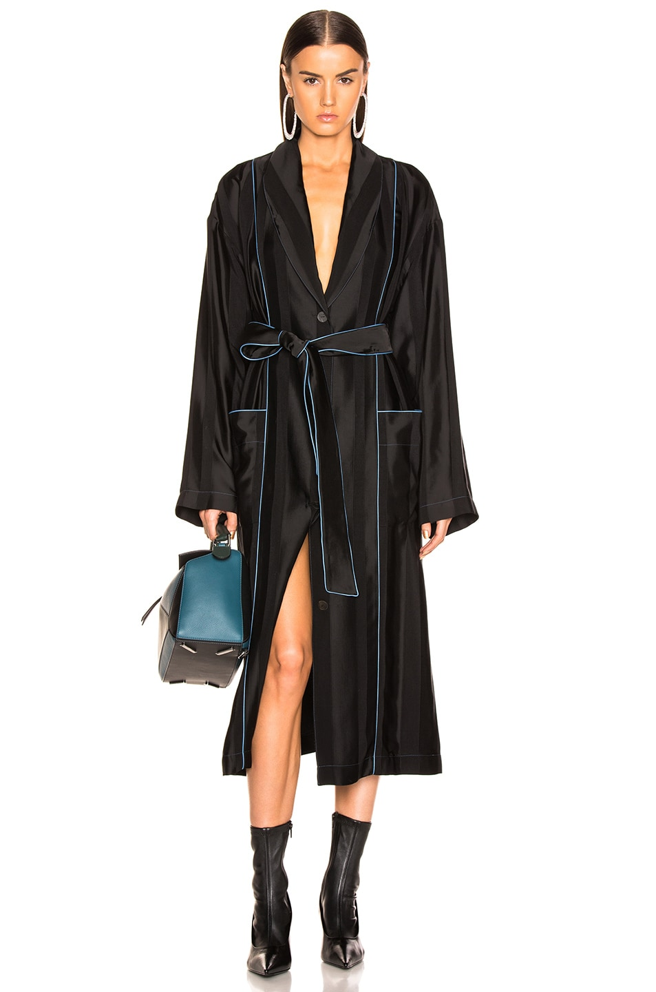 Image 1 of Loewe Duster Coat in Black & Blue