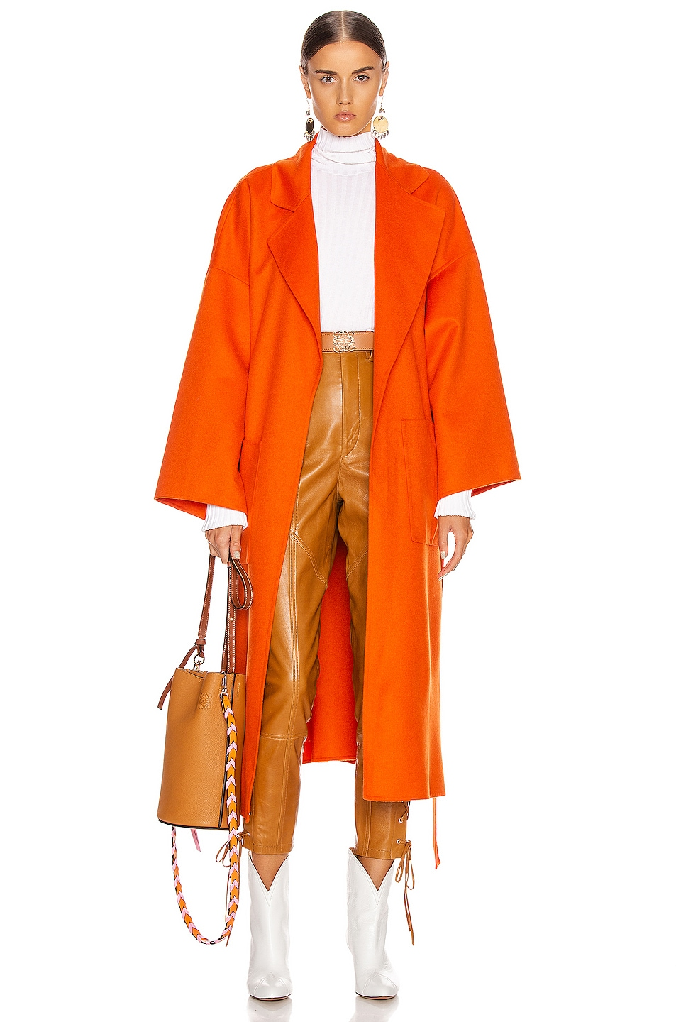 Image 1 of Loewe Oversized Belted Coat in Orange