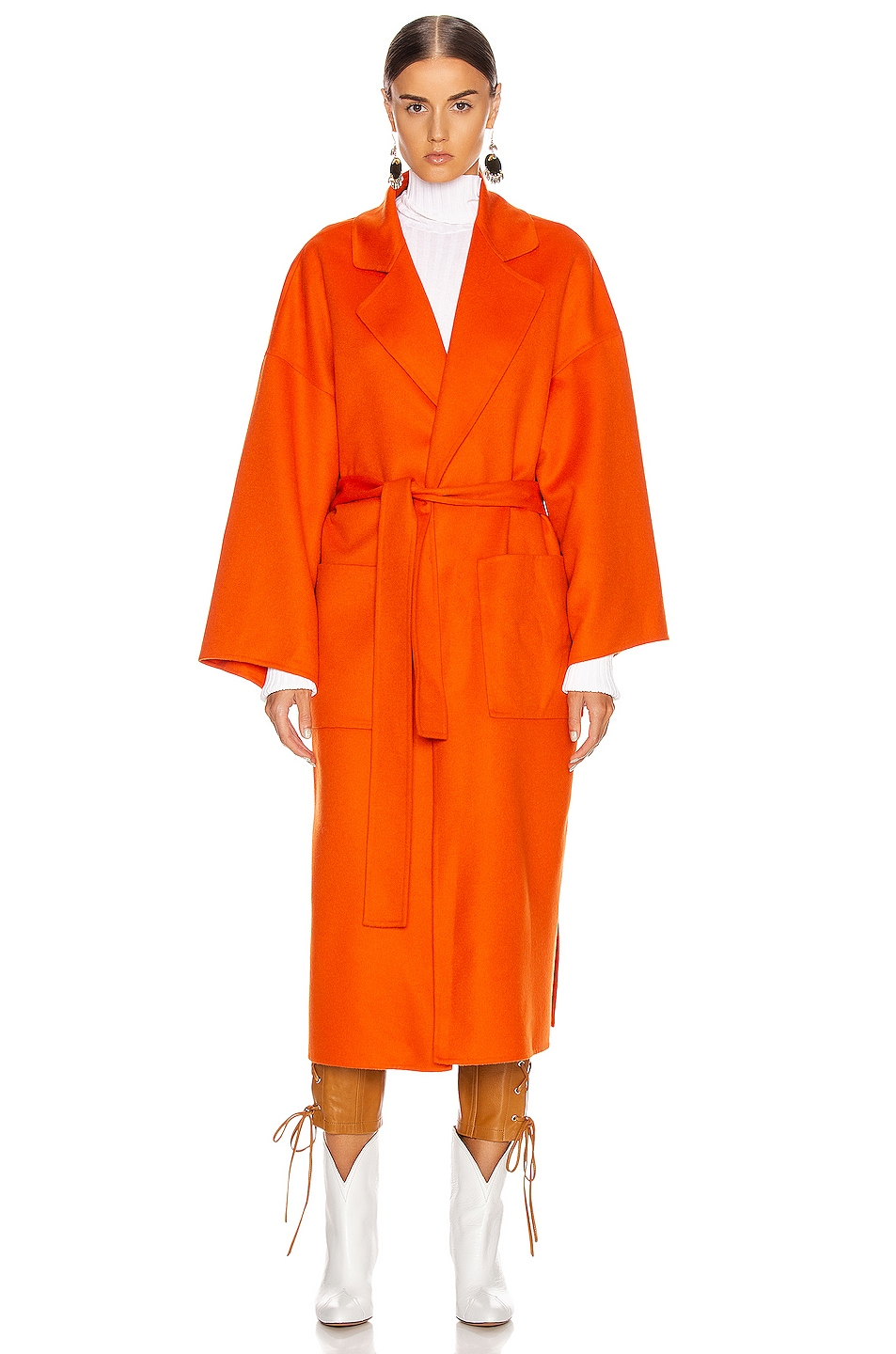 Image 2 of Loewe Oversized Belted Coat in Orange