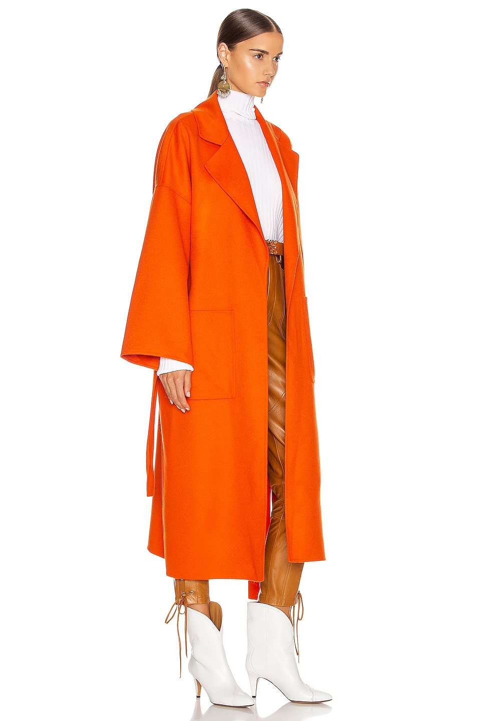 Image 3 of Loewe Oversized Belted Coat in Orange