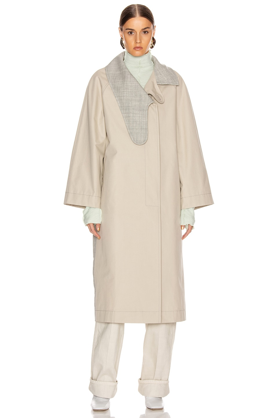 Image 2 of Loewe Long Asymmetrical Collar Coat in Beige & Grey