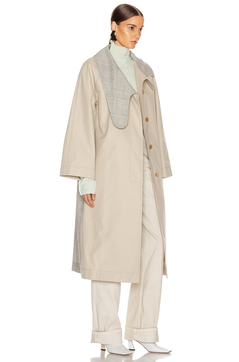 Image 3 of Loewe Long Asymmetrical Collar Coat in Beige & Grey