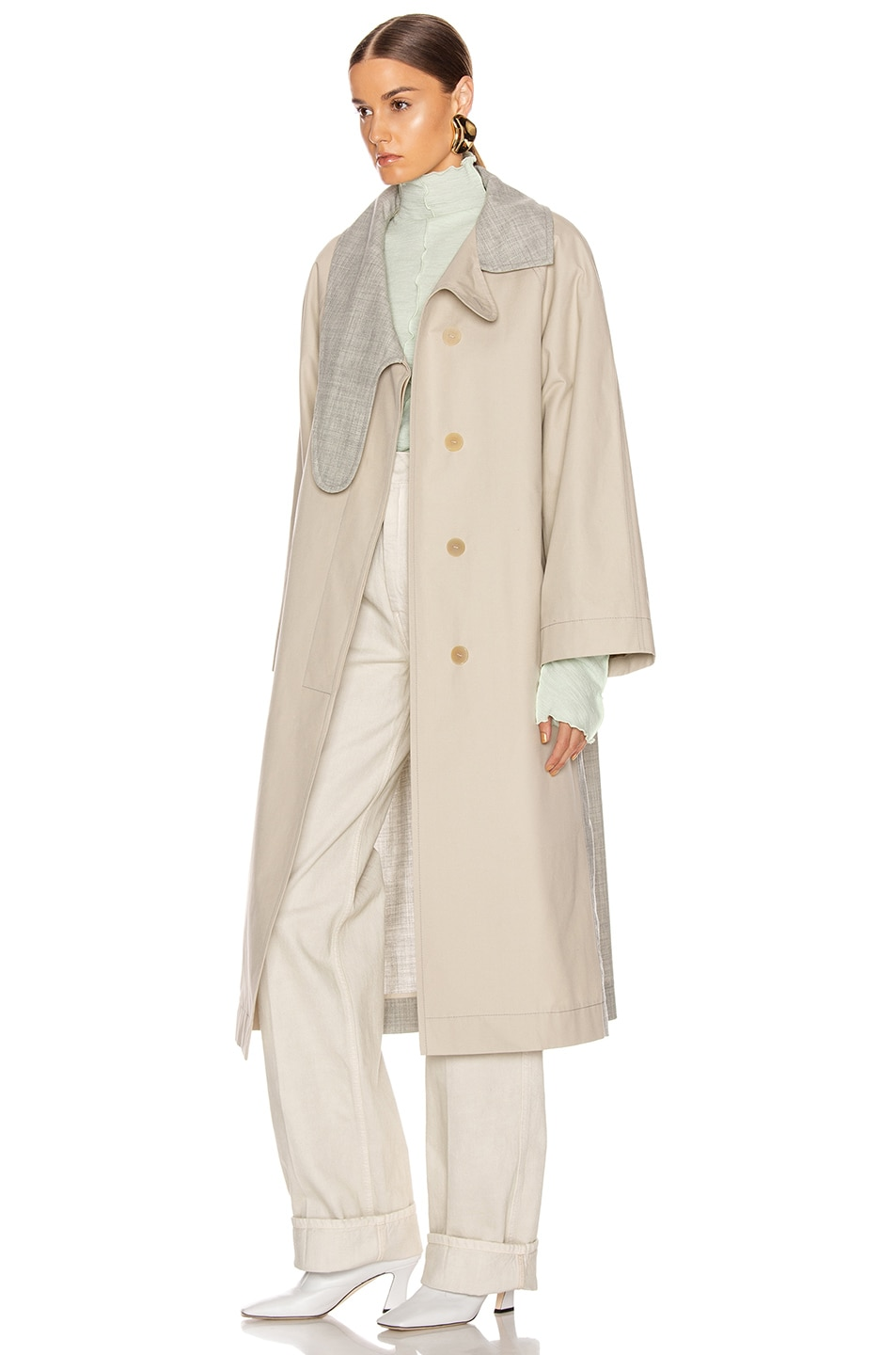 Image 4 of Loewe Long Asymmetrical Collar Coat in Beige & Grey