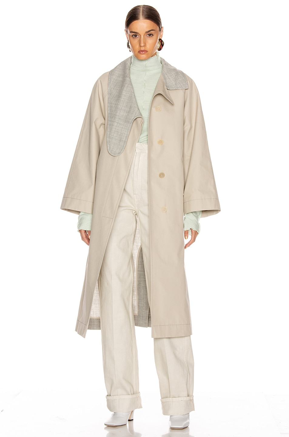 Image 6 of Loewe Long Asymmetrical Collar Coat in Beige & Grey