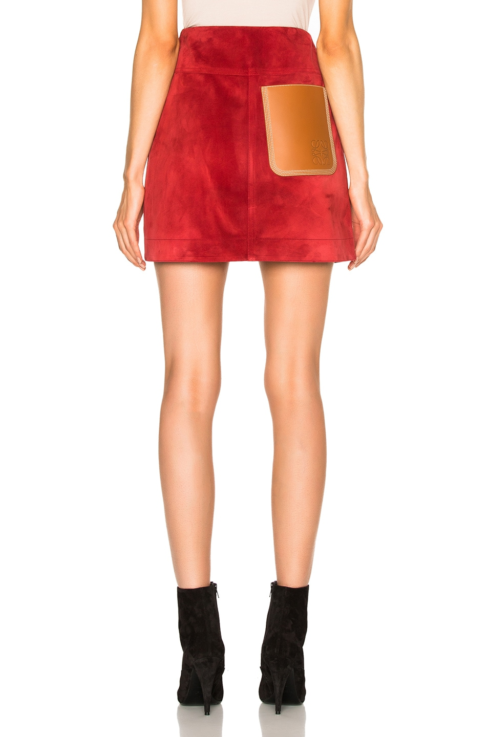 Image 4 of Loewe Suede Skirt in Red