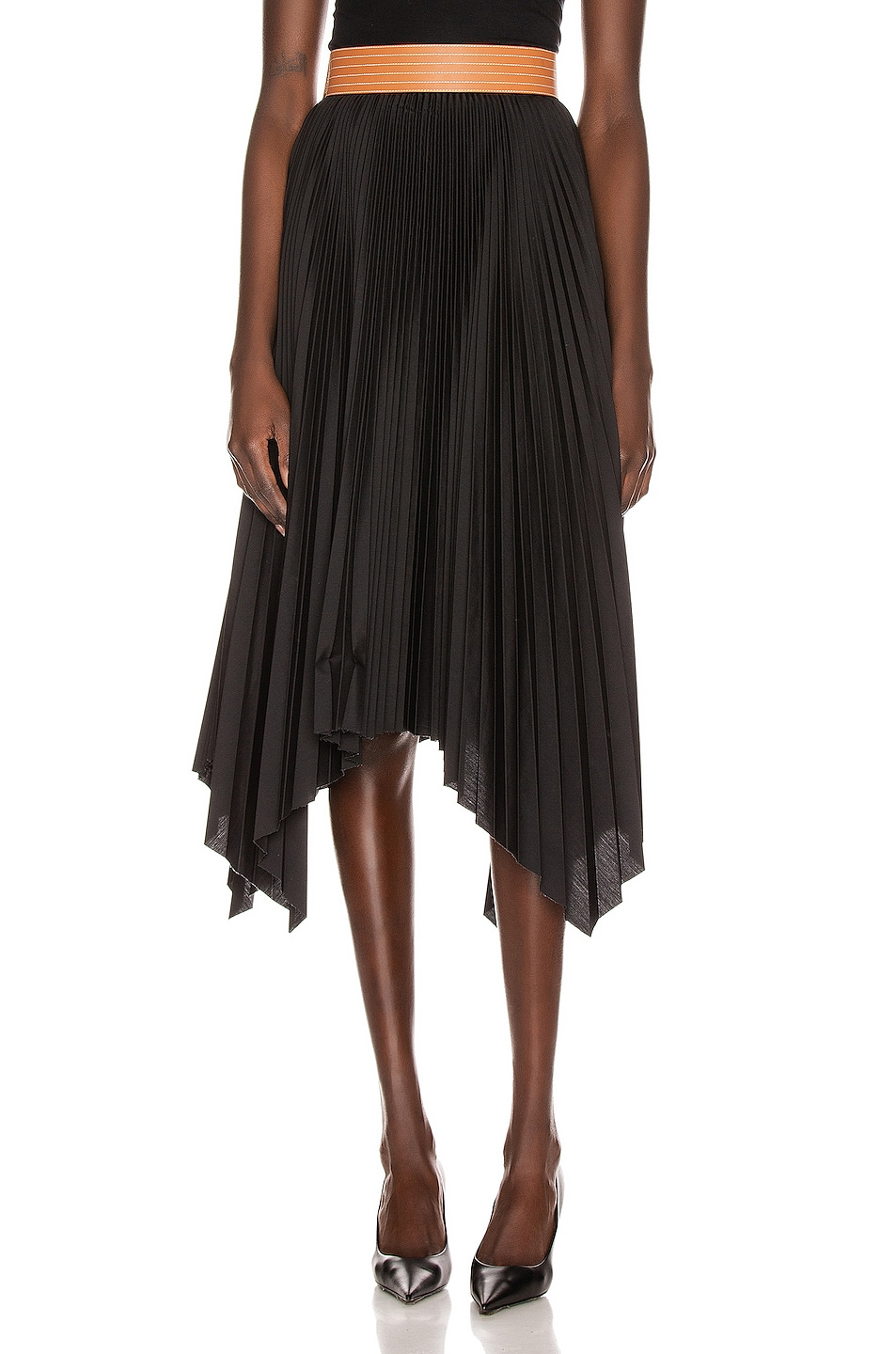 Image 1 of Loewe Pleated Skirt in Black & Tan