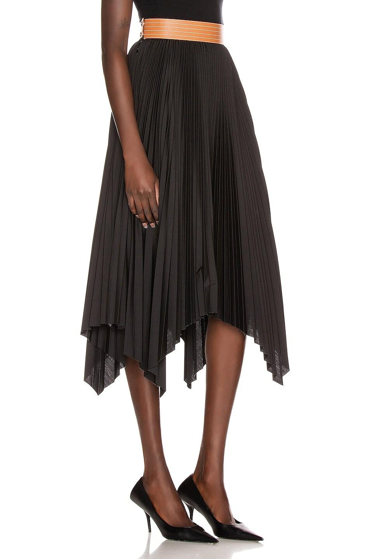 Image 2 of Loewe Pleated Skirt in Black & Tan