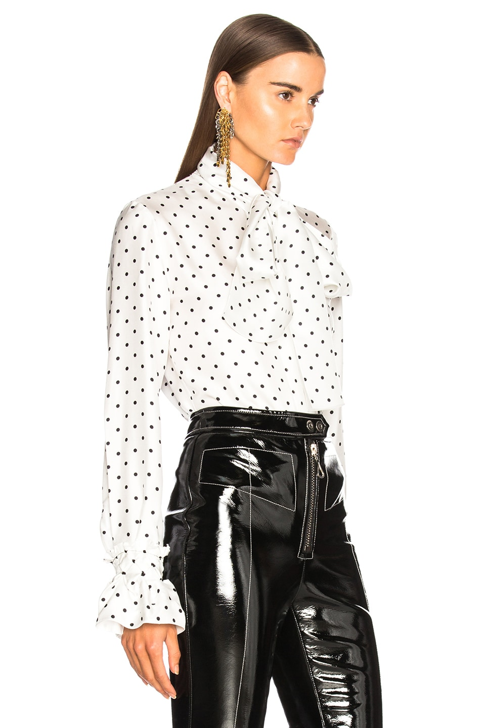 Image 2 of Loewe Dot Lavalliere Blouse in White
