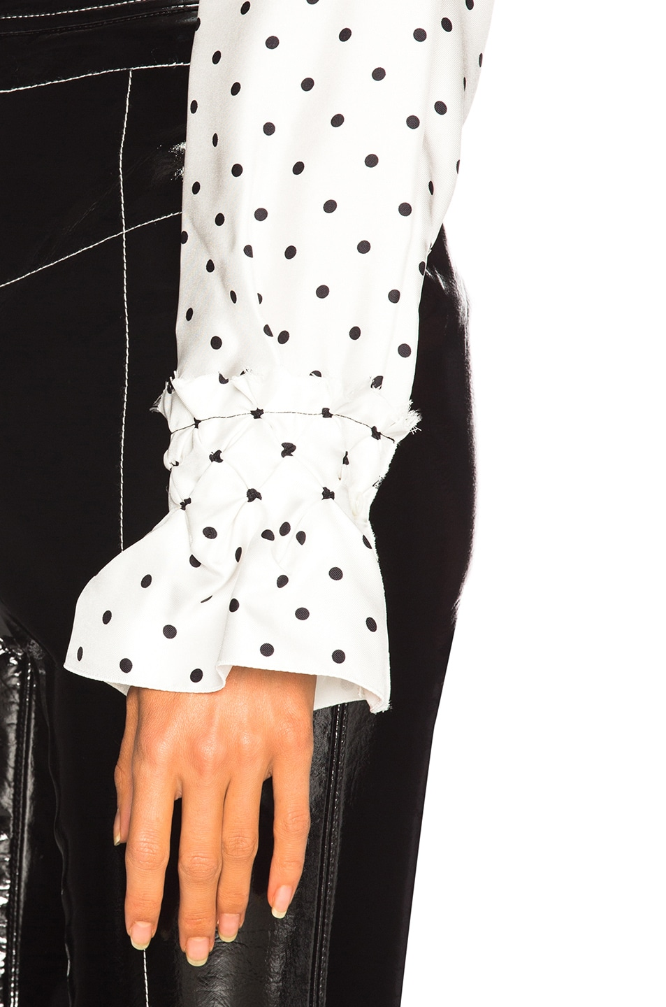 Image 5 of Loewe Dot Lavalliere Blouse in White
