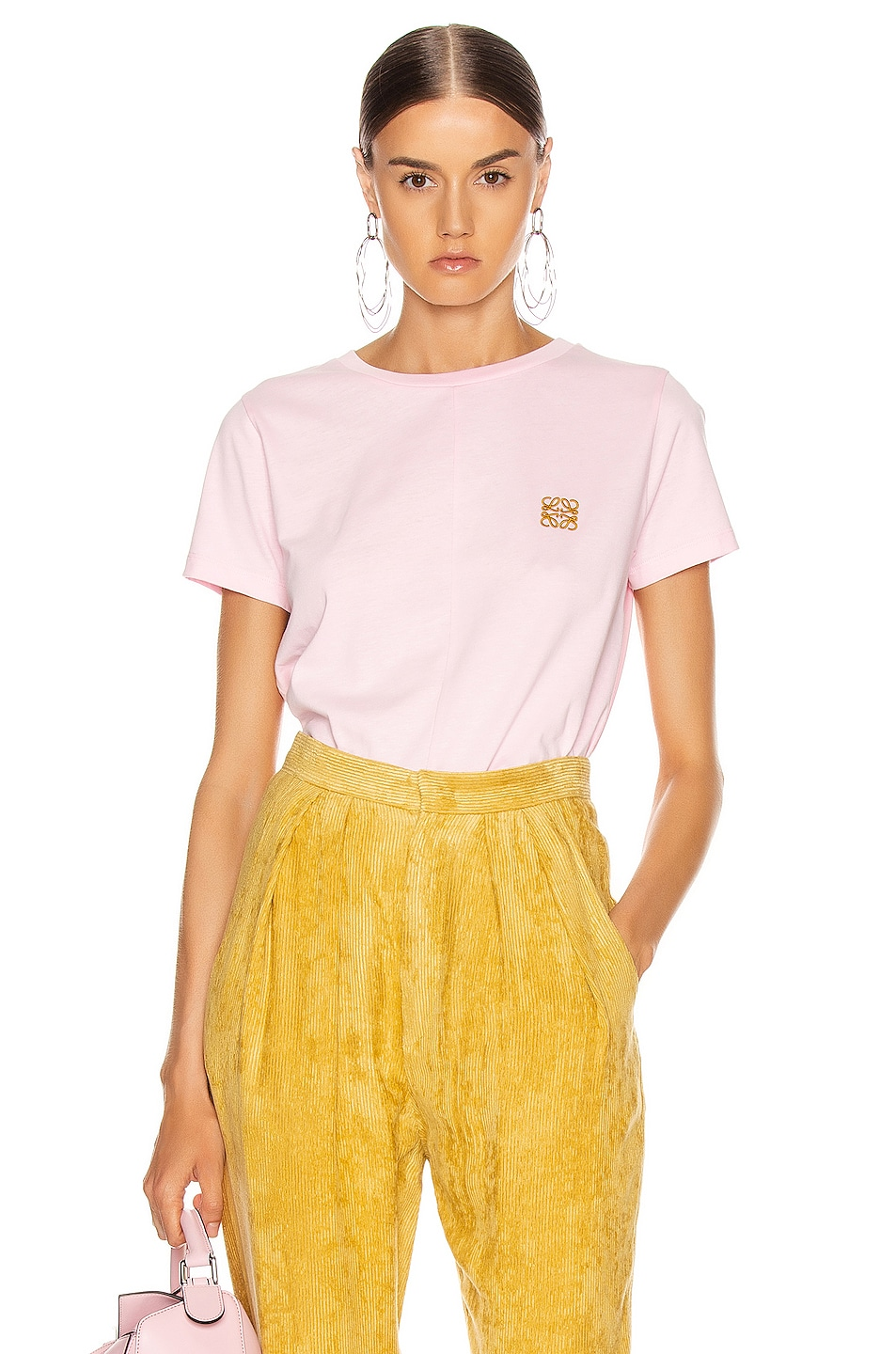 Image 1 of Loewe Asymmetric T Shirt in Pale Pink