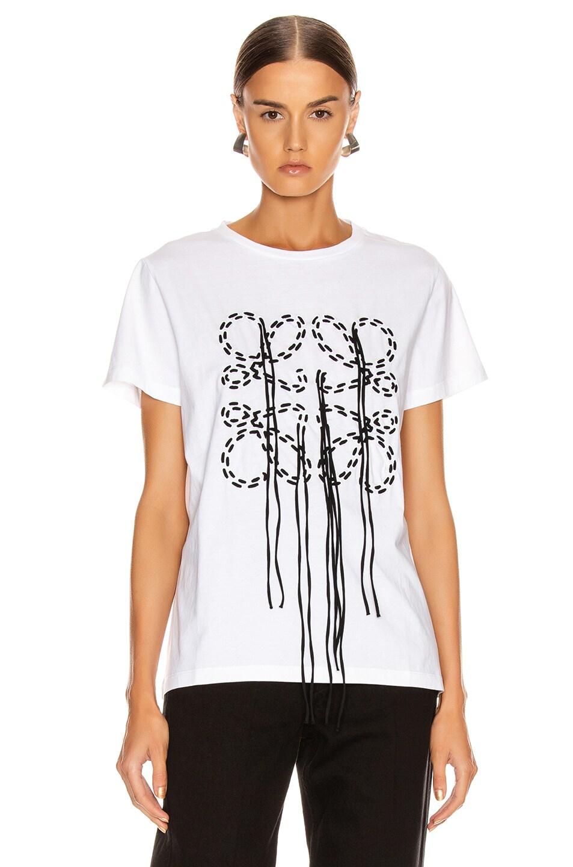 Image 2 of Loewe Anagram Stitch T Shirt in Ecru