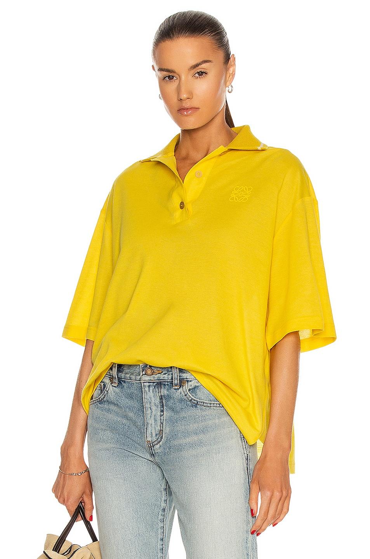 Image 1 of Loewe Oversize Anagram Polo Top in Yellow