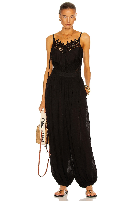Image 1 of Loewe Paula's Ibiza Macrame Camisole Top in Black