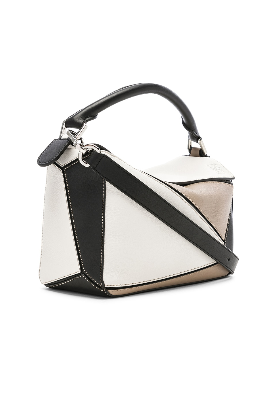 Image 4 of Loewe Puzzle Small Bag in Soft White & Sand