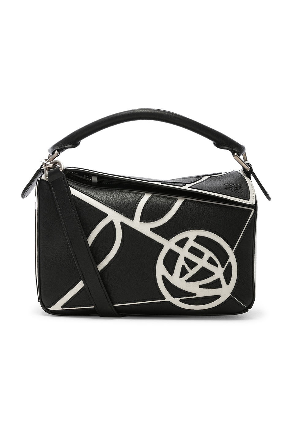 Image 1 of Loewe Puzzle Small Roses Bag in Black & White