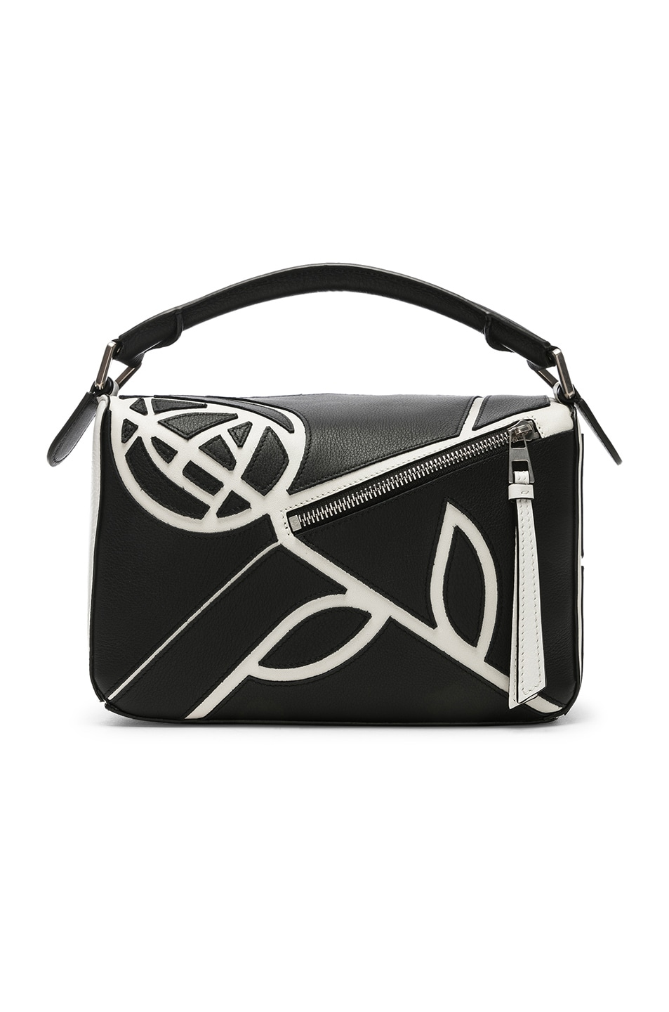 Image 3 of Loewe Puzzle Small Roses Bag in Black & White