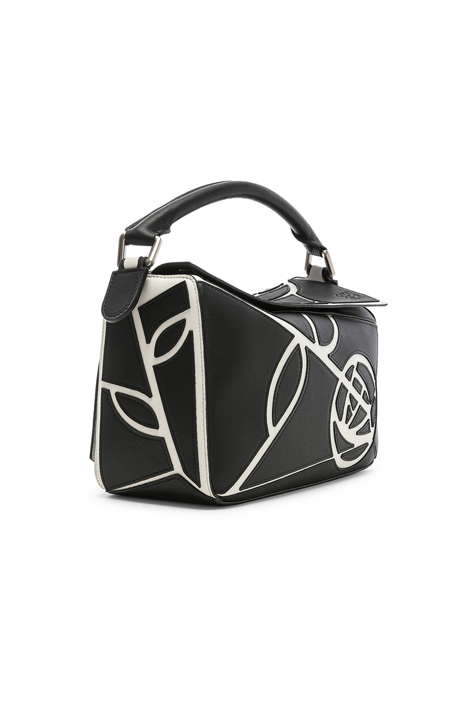 Image 4 of Loewe Puzzle Small Roses Bag in Black & White